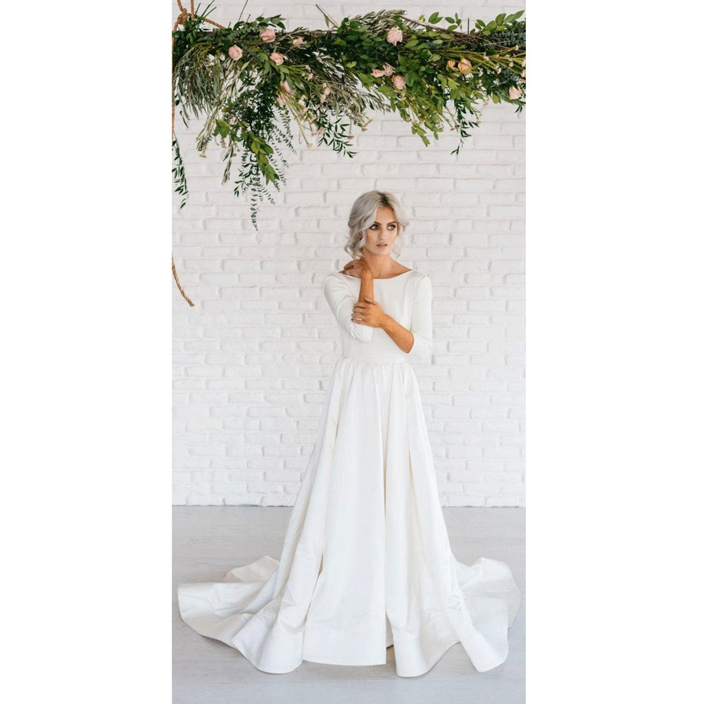 Elegant Simple Long Sleeve A-Line Satin Wedding Dress With Open Back.