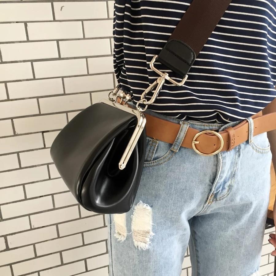 Luxury Clip Women's Crossbody Bags PU Leather Designer Wide Strap Shoulder Bag Large Shell Messenger Bag Ladies Fashion Purses