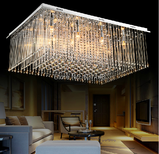 New Design Rectangular Crystal Chandelier Living Modern