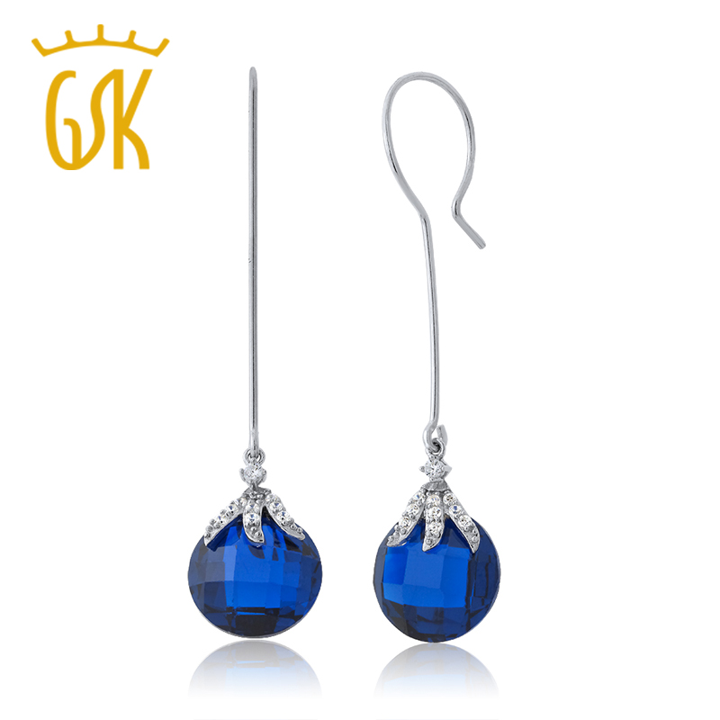 GemStoneKing 22 00 Ctw Simulated Blue Sapphire Bead Dangle Earrings For Women Fashionable 925 Sterling Silver