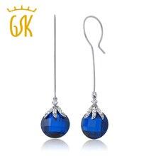 GemStoneKing 22.00 Quilates Zafiro Azul Simulado Perla Cuelga Los Pendientes Para Las Mujeres Joyería De Moda Plata de Ley 925