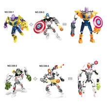 Super Heroes Thanos Iron Man Hulk Spiderman Batman Captain Marvel Avengers Building Blocks Toys Figures gift