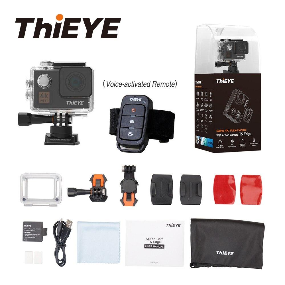 ThiEYE T5 Bord Avec Flux En Direct WiFi caméra d'action Réel 4 K Ultra HD caméra de sport avec L'EIS contrôle vocal 60 M Étanche