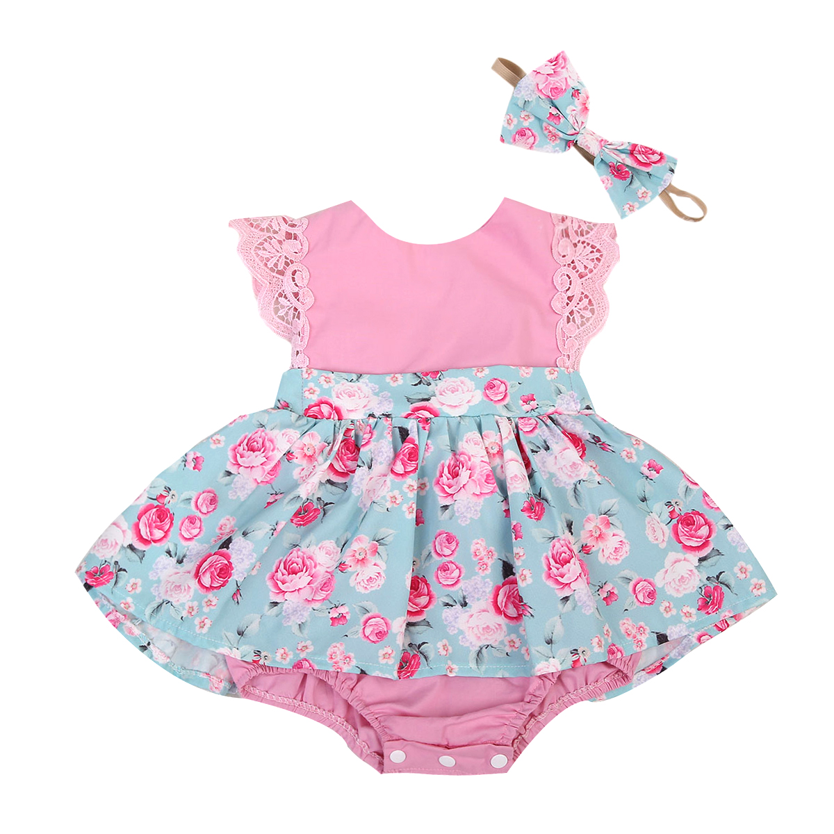 Emmababy Baby Girl Lace   Romper   Sleeveless Cute Summer Clothes Party Baby Girls Kids   Romper   Dress Clothing Tops Floral Princess