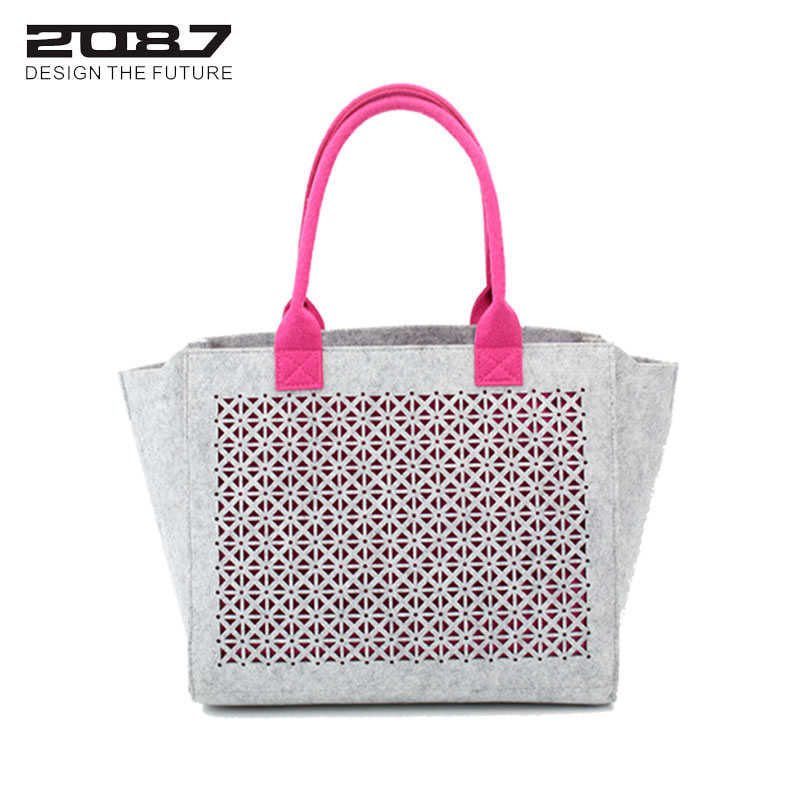 2087 Women Felt Handbag Bags Large Capacity Lady Shoulder Bag Totes Hollow-out Trapeze Female Fashion Shopping Tote