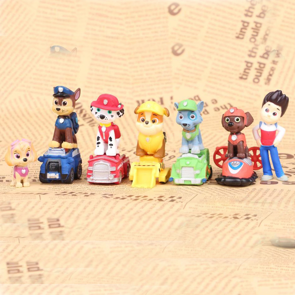 12pcs Puppy Paw Patrol Dog Patrulla Canina Dogs Anime Doll Action Figures Car Toy Patroling Canine