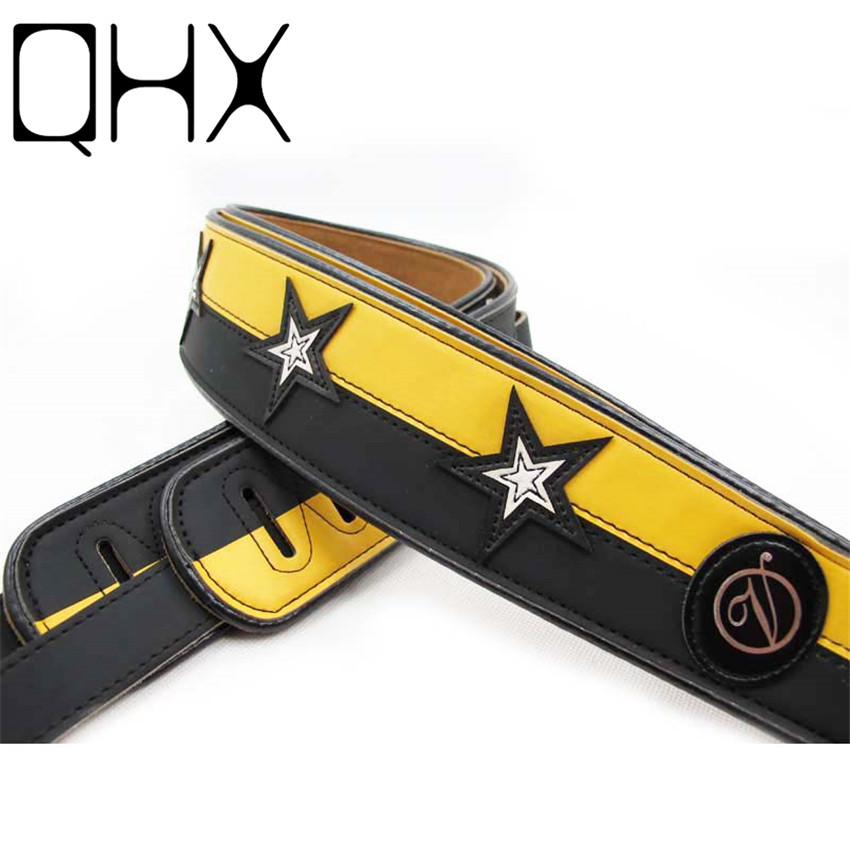 QHX 1Pcs leather guitar strap for acoustic guitar bass Electric guitar parts yellow color guitar accessories zebra cool skull electric guitar belt polyester acoustic folk guitar classic guitar strap for electric acoustic guitar bass