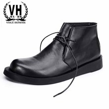 Riding shoes men's casual high top lace Genuine leather bottom men boots soft autumn winter British retro all-match cowhide male men casual shoes 3d print shoes high top black white mix color comfortable cool all match genuine leather autumn winter shoes