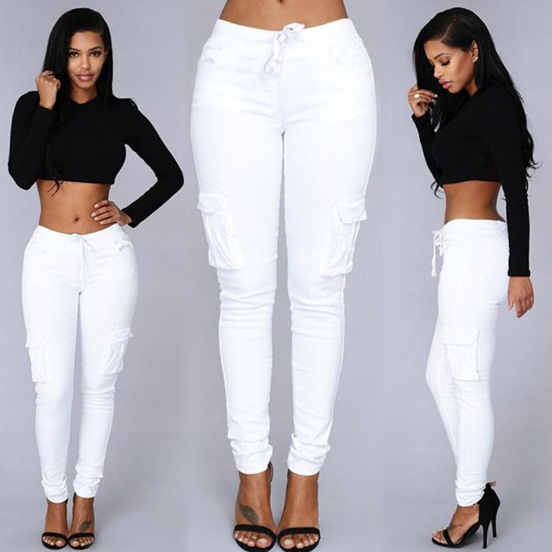 Høstbukser til kvinner 2016 Long Cargo Women's Bukser Drawstring Casual Pantalon Femme White Female Pants Kvinner Plus Size