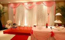 Wedding Backdrops with luxurious baby pink Swag for Wedding Decorations 3m*6m with sequin