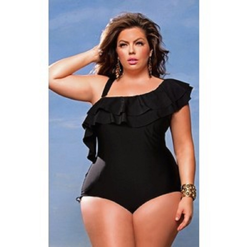 c98720b520 Plus Size Swimsuits For Women One Piece Swimsuit 2018 One Shoulder Ruffle Swimwear  Bathing Suit Large