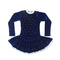 Retail Ready To Ship Blue Velvet Long Sleeve Leotards With Rhinestone For Dance
