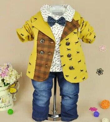 1-5Y boys high quality fashion gentlemen cartoon plaid patchwork clothing sets 3pcs kids clothes sets boy handsome coat set boy ремни lee ремень gentlemen