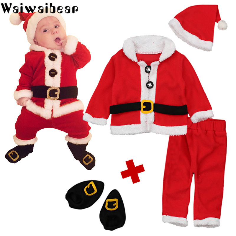 Newborn Boys Girls Christmas Santa Clothes set Infant Baby 4PCS Christmas Tops Pants Hat Socks Outfit Set Costume