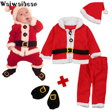 Newborn Boys Girls Christmas Santa Clothes set Infant Baby 4PCS Tops Pants Hat Socks Outfit Set Costume