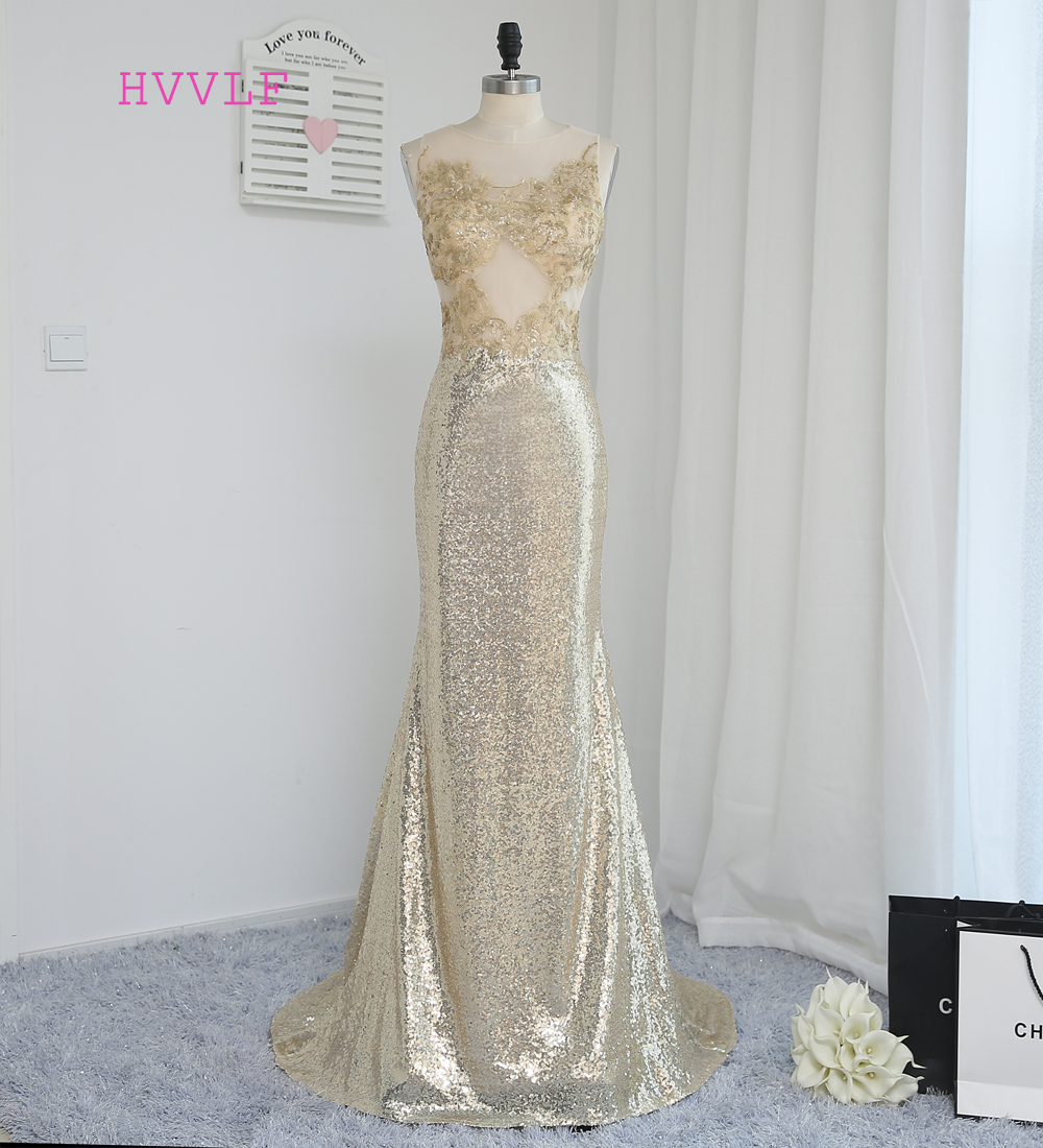 HVVLF 2018 Cheap   Bridesmaid     Dresses   Under 50 Mermaid Scoop Champagne Sequins See Through Wedding Party   Dresses