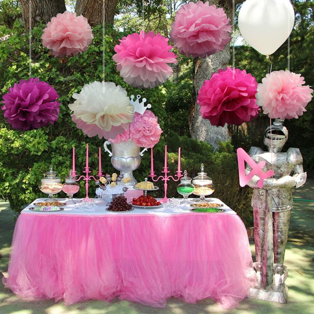 10pcs/Pack 15cm,20cm,25cm mixed colors Pink Tissue Paper Pom Poms For Baby Girl Princess Birthday Party Wedding Party Decoration