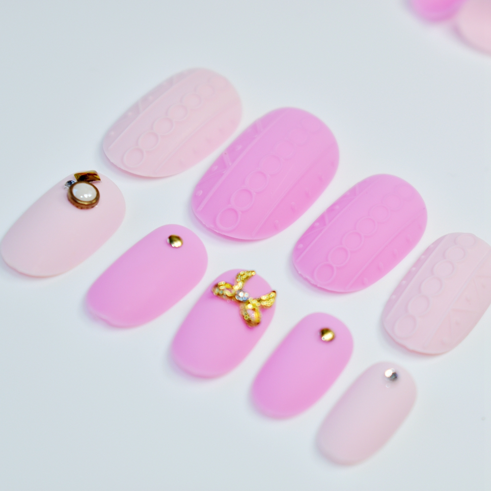 Matte Emboss Style False Nail Frosted Light Pink Rose with Gold ...