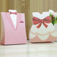 New 100pcs/lot Sweet Love Bridal Gift Cases Groom Tuxedo Dress Gown Wedding Favor Candy Box