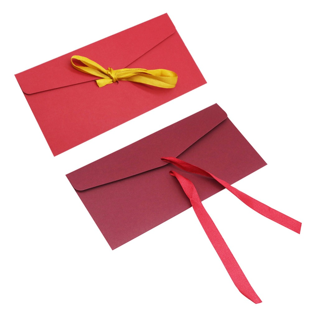 10 Pcs Ribbon Gift Envelope 22*11cm Fine Invitation Office School Supplies Paper Envelopes Vintage Romantic Style Decorative