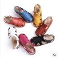 201510 sandálias de couro genuíno crianças shoes, menino shoes, meninas shoes doces cores, baby shoes