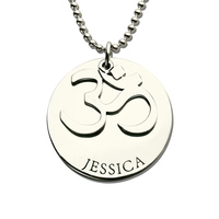 AILIN Personalized Yoga Name Necklace Engraved Om Necklace Sterling Silver Name Pendant Bring You Peace and Calm Yoga Jewelry