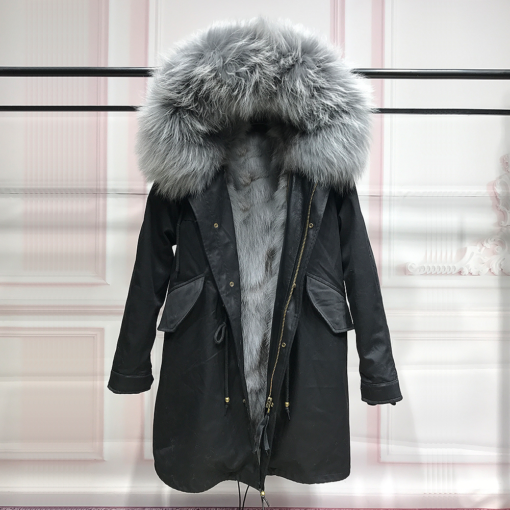 long winter jacket women outwear thick parkas raccoon natural real fur collar coat hooded real warm fox fur liner gray 2017 winter new clothes to overcome the coat of women in the long reed rabbit hair fur fur coat fox raccoon fur collar