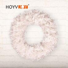 HOYVJOY Christmas White Wreaths PVC Holiday Decorations Handmade Garland Artifical Plants Wedding Party Supplies