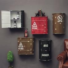 Винтажная промышленная железная Винная стойка барабан ветер Лофт бар домашний интерьер настенные фотообои украшение стены хранение стен
