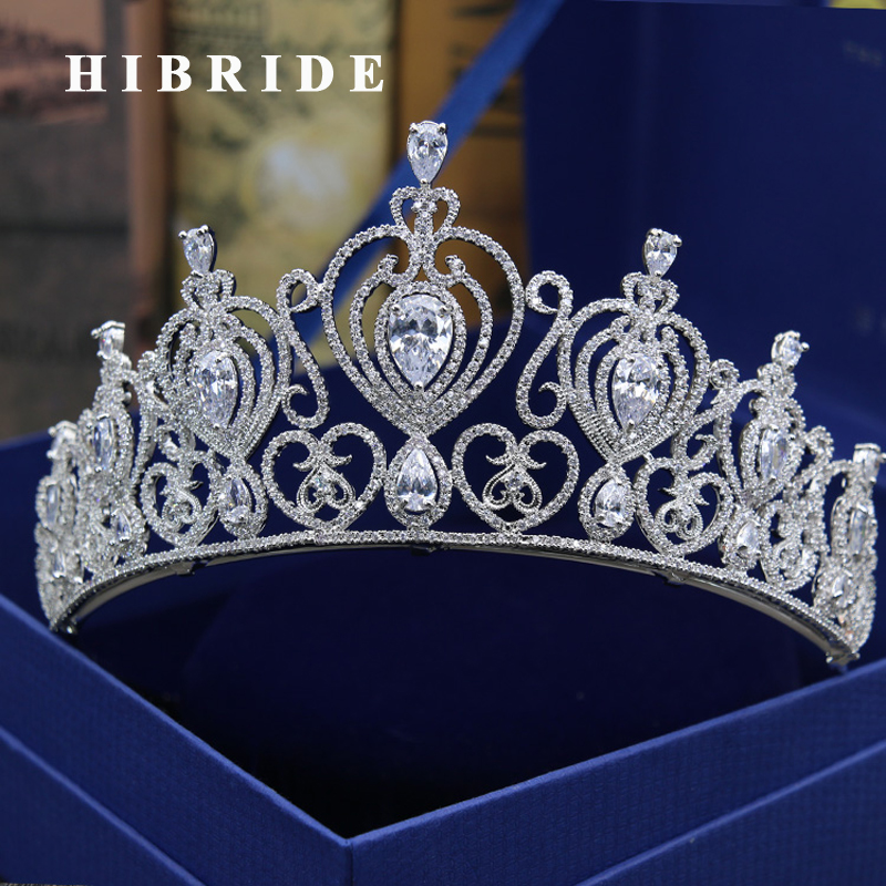 HIBRIDE Women Brial Big Crown Clear Cubic Zircoia White Gold Color Tiaras Hair Accessories Statement Jewelry