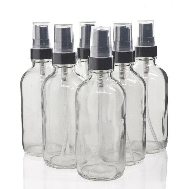 6pcs 120ml ברור זכוכית ספריי בקבוק שחור בסדר ערפל מרסס 4 Oz למילוי מיכל לשמני אתריים אורגני יופי מוצרים