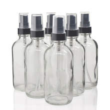 6pcs 120ml Clear Glass Spray Bottle Black Fine Mist Sprayer 4 Oz Refillable Container for Essential oils Organic Beauty Products