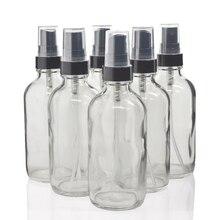 Garrafa spray de vidro transparente 6 peças, recipiente recarregável para óleos essenciais orgânicos, preto, pulverizador de névoa fina 4 oz 120ml produtos de beleza