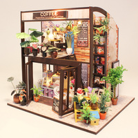 3D Wooden Puzzle Coffee House DIY Handmade Furniture Miniature Dollhouse Building Model Home Desk Decoration Gift For Kids