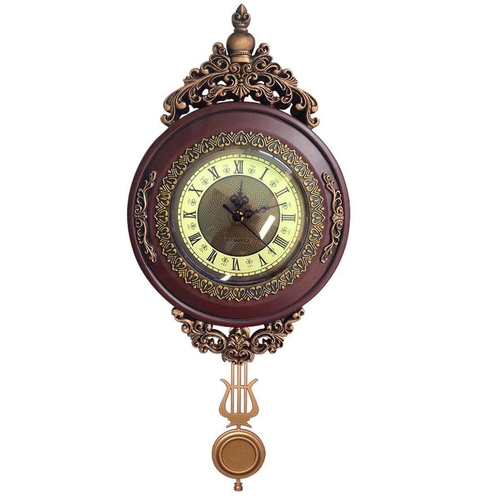Giftgarden Vintage Round Wall Clock Pendulum Antique Style Roman Numerals Grandfather Clock Home Decoration Accessories