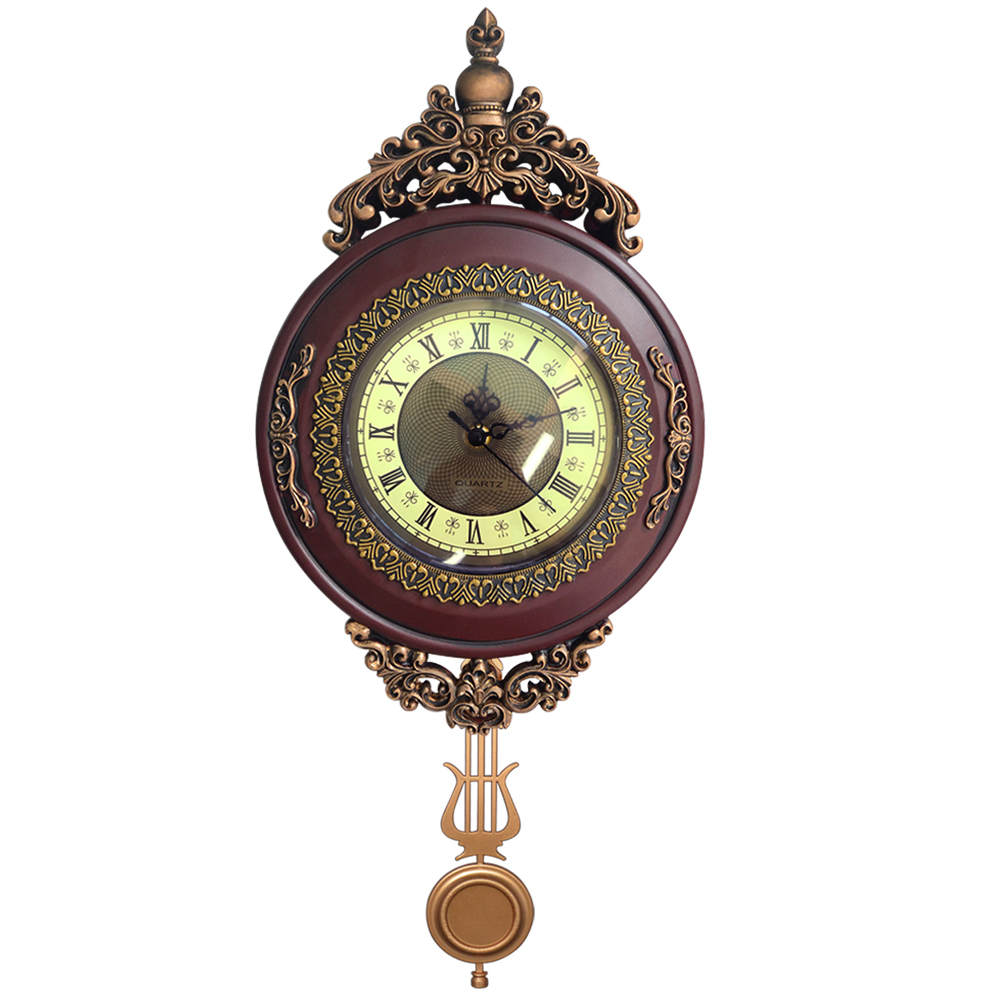 Giftgarden Vintage Round Wall Clock Pendulum Antique Style Roman Numerals Grandfather Clock Home Decoration Accessories-in Wall Clocks from Home & Garden    1