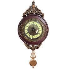 Giftgarden Vintage Round Wall Clock Pendulum Antique Style Roman Numerals Grandfather Home Decoration Accessories