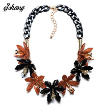 Collares 2016Necklace Pendant Famous Brand Jewelry Resin Choker Black Chain Flower Shourouk Statement Necklace Perfume Women
