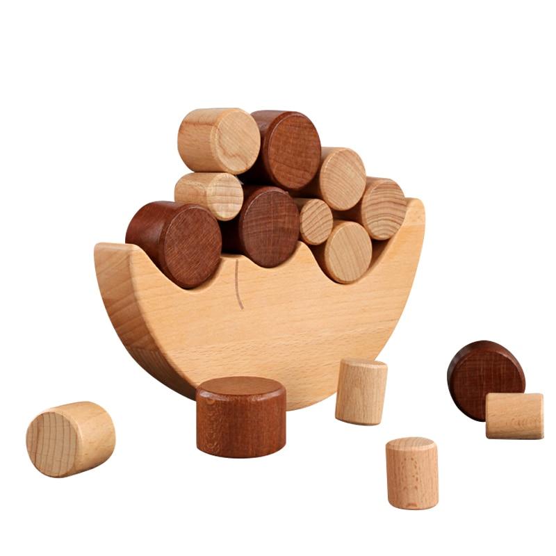 Kids Preschool Wood Moon Balance Stacking Blocks Educational Toy B-day Gift