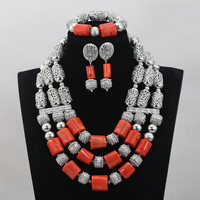 Popular African Wedding Silver Accessories Mix Red Coral Beads Jewelry Sets Necklace Sets African Accessory Free Shipping CJ763