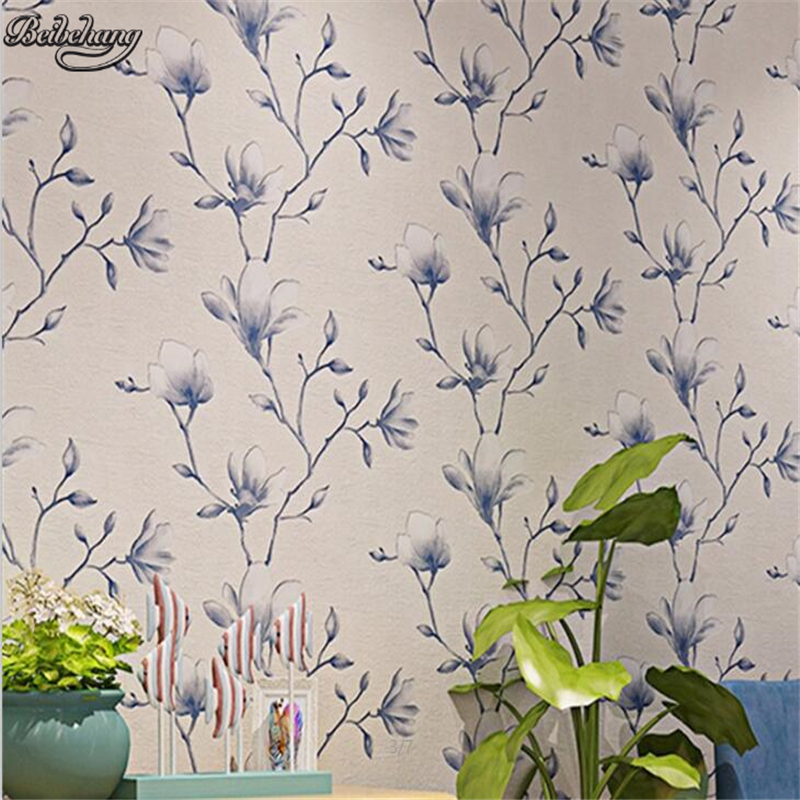 beibehang Modern Chinese deer skin wallpaper high-end thickening 3D stereo ink Magnoliabedroom TV background wallpaper beibehang chinese high end 3d