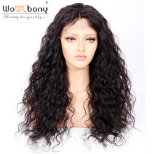 Human Hair Bouncy Curly Lace Front Wigs Glueless Brazilian Remy Hair Black Pre plucked  Natural Hairline Middle Part WoWEbony