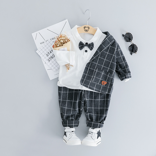 HYLKIDHUOSE 2019 Baby Boy Clothing Sets Male Children Clothes Suits Gentleman Style Infant Coats T Shirt Pants Grid Kids Costume