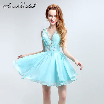 Sexy Homecoming Dresses V-neck Open Back Aqua Short Crystal Beaded Formal Party Gowns Pleated Sleeveless Robe De Soiree LSX132