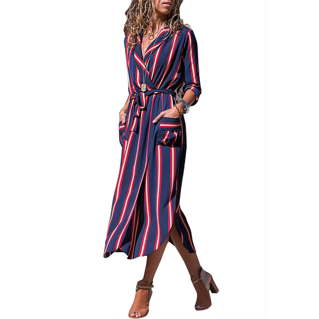 97ec221a9e32 New Autumn Women Fashion Striped Shirt Dress with Sashes Tie Casual  Collared V Neck Split Party Midi Dress with Pockets