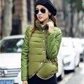 Mulheres Jaqueta de inverno 2017 Nova Moda Short Slim de Algodão Acolchoado Feminino Outwear Jaquetas Gola Elegante Patchwork Streetwear