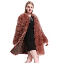 LIYAFUR Women's Real Genuine Ostrich Turkey Fur Long Winter Coat Jacket Outerwear Full Sleeve XXL XXXL 4XL