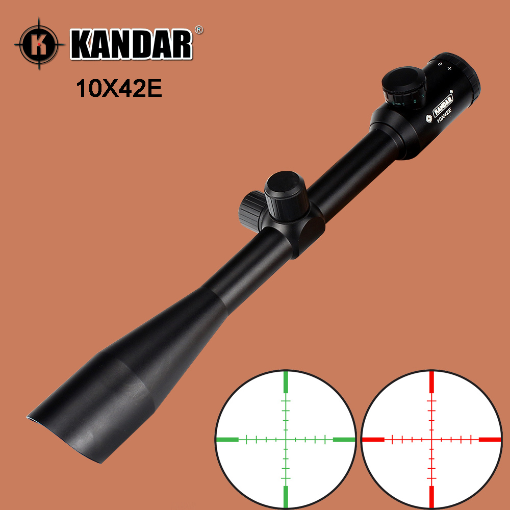 KANDAR 10X42E Hunting Rifle Scopes Red Green Illumination Reticle with Integral Sunshade Tactical Optics Sights Rifle Scope padegao 2017 new fashion high heels women sandals sexy decorated with metal chain wear convenient cool slippers shoes women shoe