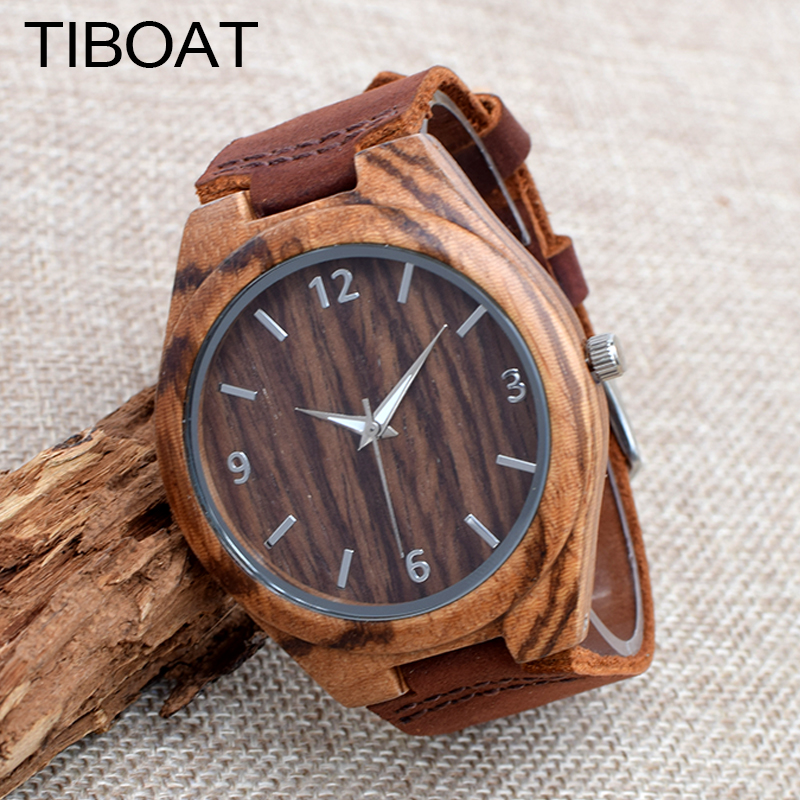 TIBOAT Real Leather Strap Men Watches Top brand Men's Bamboo Wooden Bamboo Watch Quartz With Gift Box 2016 bobo bird top brand bobobird men s bamboo wooden bamboo watch quartz real leather strap men watches with gift box
