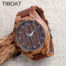 TIBOAT Real Leather Strap Men Watches Top brand Men's Bamboo Wooden Bamboo Watch Quartz With Gift Box